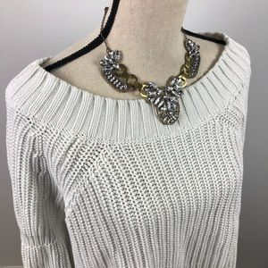 White cozy thick off the shoulder sweater